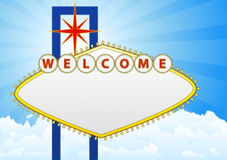 illustration of welcome billboard with sky and cloud in background Vector