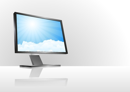 illustration of monitor with clouds and sunburst in sky  Vector