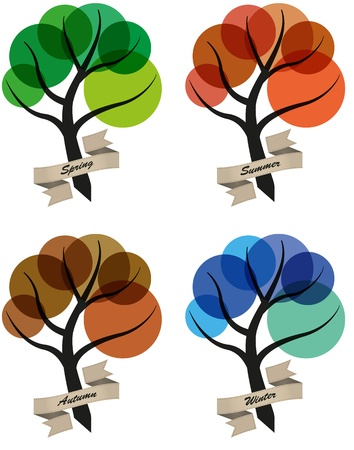 tree four seasons, spring, summer, autumn and winter Stock Vector - 15519751