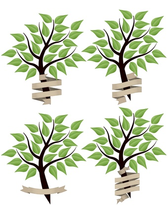 tree stylized with leafs and blank vintage banner Stock Vector - 15519754