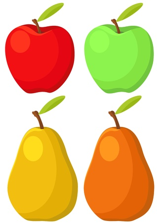 illustration of apple and pear in different color Stock Vector - 15471012