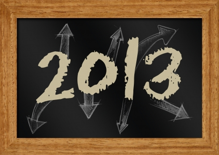 illustration of 2013 with arrow on chakboard  illustration