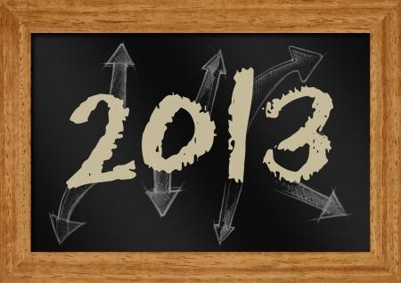 illustration of 2013 with arrow on chakboard Stock Illustration - 15471038