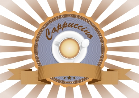 illustration of cappuccino in vintage badge badge Vector
