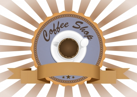 illustration of coffee in vintage badge badge Vector