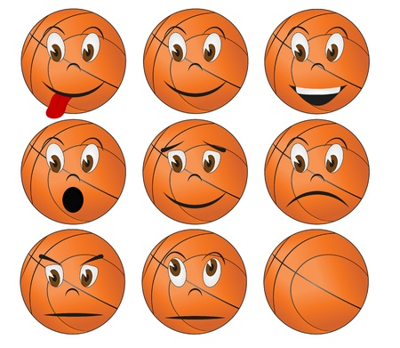 illustration set of basketball with facial expression  Stock Vector - 15653729
