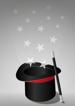 star wand: illustration of top hat of the magic Illustration
