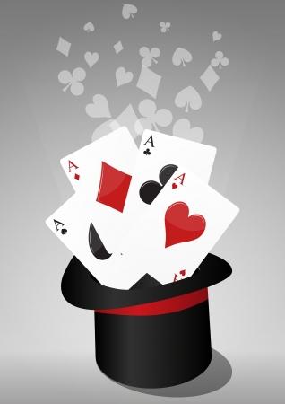 illustratie van de hoge hoed van de magie met azen