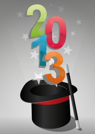 top hat: illustration of top hat with 2013 text  Illustration