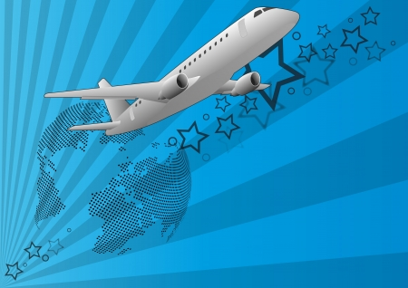 illustration of airplane, seen from below with world in background Stock Vector - 15921422