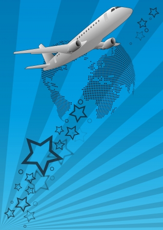 illustration of airplane, seen from below with world in background Vector