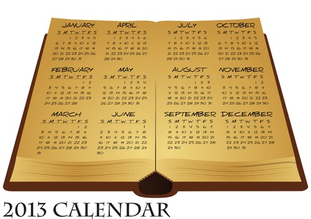 illustration of ancient book with calendar Vector