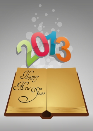 illustration of ancient book with colorful 2013 text Vector