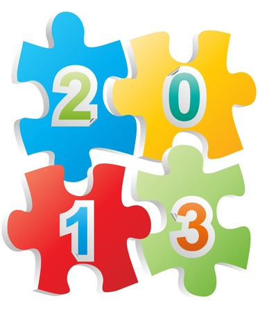 illustration of 2013 text on pieces of puzzle Stock Vector - 15983058