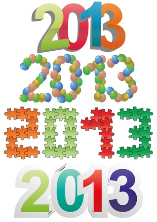 illustration set of 2013 year text Vector