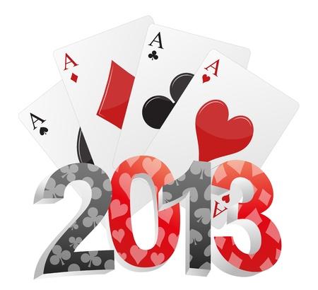 illustratie van 2013 tekst met poker kaarten Stock Illustratie