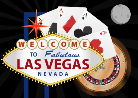 las vegas strip: illustration of las vegas signal with playng cards and roulette