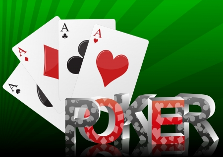 illustration of poker text with ace cards Stock Vector - 16099865