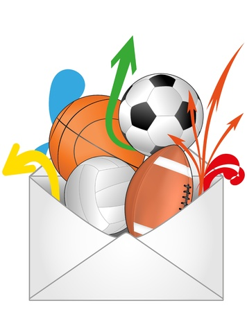 illustration of open mail with sport ball  Vector