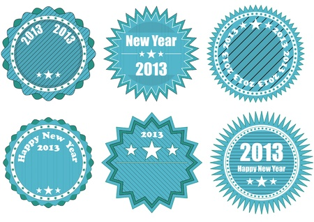 illustration of blue badge with 2013 year text Vector