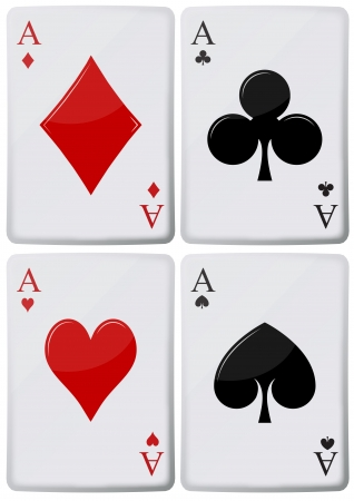 ace hearts: illustration of aces of playing cards, spades, hearts, clubs, Illustration