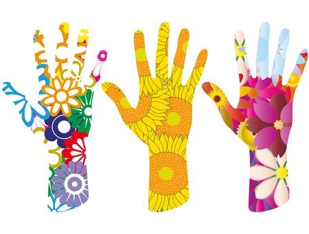 illustratie set van kleurrijke bloemen in de hand vorm