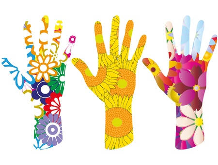 plant hand: illustration set of colorful flowers in hand shape