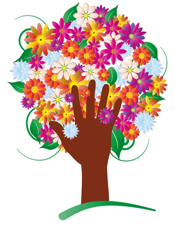 illustration of hand trunk with colorful flowers Stock Vector - 16260412