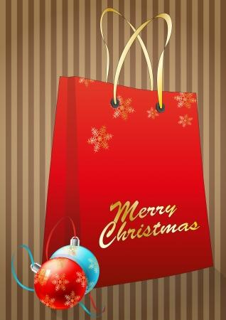 illustration of christmas bag with two ball chrismas Stock Vector - 16260423
