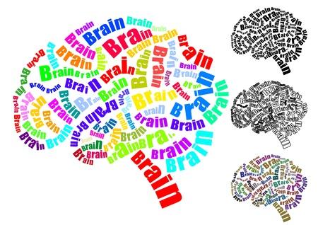illustratie van de tekst hersenen met hersenen vorm Stock Illustratie