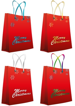 illustration set of red christmas bag Stock Vector - 16260420