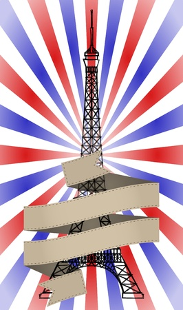 illustration of vintage tour eiffel with ribbon Vector