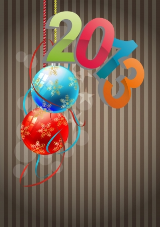 illustration of 2013 text with christmas balls Vector