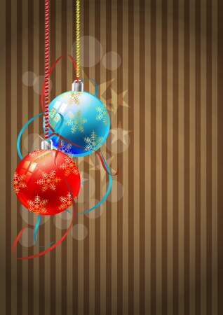 illustration of colorful christmas ball with ribbon Vector