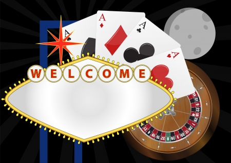 illustration of welcome billboard with playng cards and roulette