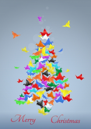 illustratio of christmas tree made of paper birds Vector