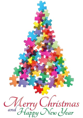 new solution: illustration of christmas tree made of colorful pieces puzzle
