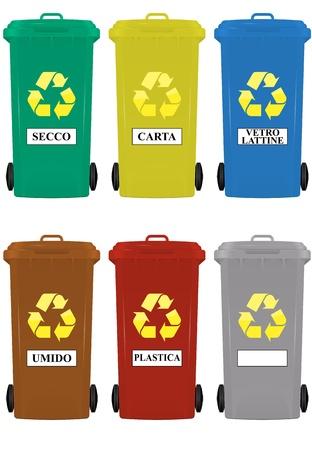 afvalbak: illustratie van wielcontainers in italiaanse taal