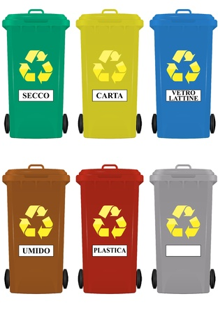 garbage bin: illustration of wheeled bins in italian language