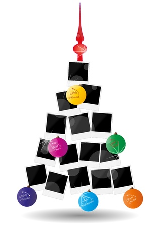 winter photos: illustration of abstract christmas tree with photos frame and xmas balls