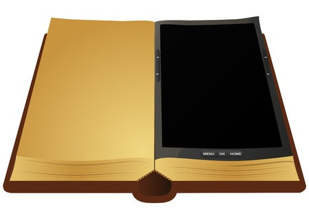 illustration of ancient book with electronic book  Vector