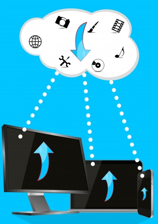 illustration of monitor, cellular and laptop with cloud Stock Vector - 16521767