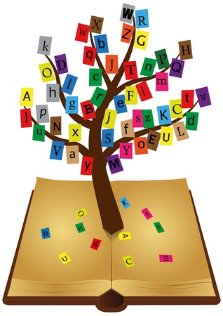 illustratie van oud boek met boom