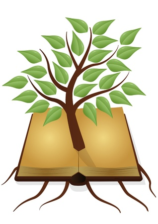 knowledge tree: illustration of ancient book with tree