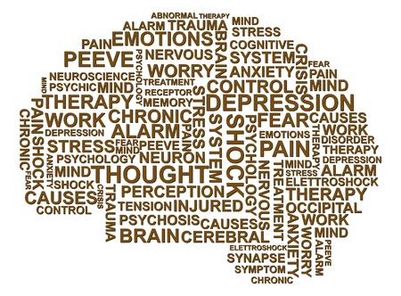 Ilustración de texto depresión en forma de cerebro