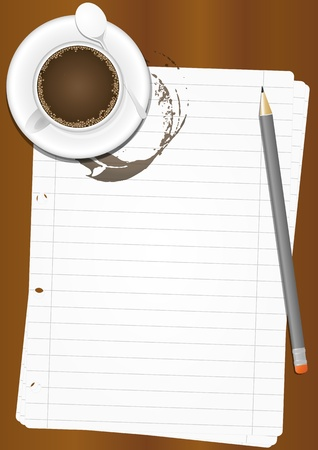illustration of paper sheet with coffee cup and pencil
