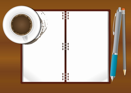 illustration of paper sheet with coffee cup and pencil Vector