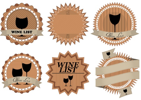 illustration set of old vintage wine list badge