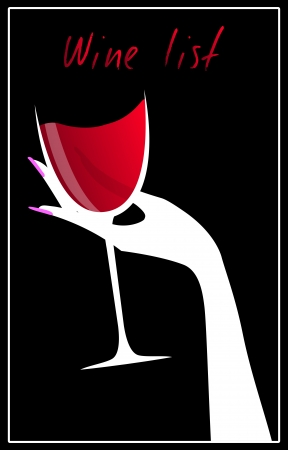 finger nail: illustration of elegant wine list with red wine