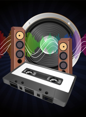 illustration of audio tape cassette with loudspeaker Vector